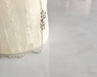 Sterling Silver Bead Bracelet / Dainty Sterling Silver Chain / Crystal Beads / layered and long bracelet // Crystal Gemstones bracelet chic