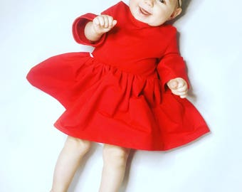 baby dress with frills and elastic headband ,red dress, baby dress, fashion kid