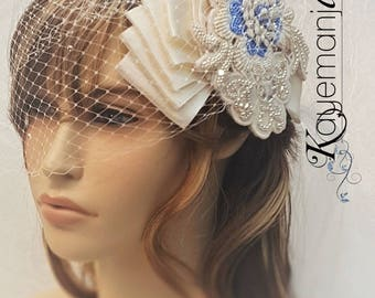 Floral Bridal Hairpiece - Something Blue bridal pieces - Unique Bridal Comb - Pearl bridal hairpiece - Bridal Veil Hairpiece