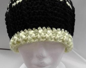 Black & Neon Yellow Reflective Stripes Crocheted Beanie