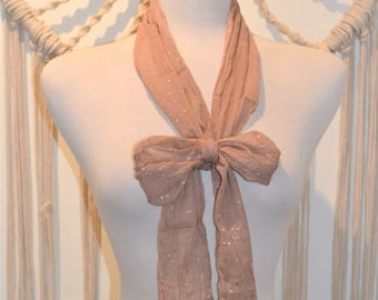 Metallic Skinny - Rose Gold Leaf Print Metallic Skinny Scarf, Skinny Neck Scarf, Gold leaf Sparkle, Boho Scarf, Boho Fashion Sparkly scarf