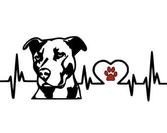 Pitbull Heartbeat Vinyl Decal, Car Decal, Laptop, Window, Dog Decal, Love Pitbull
