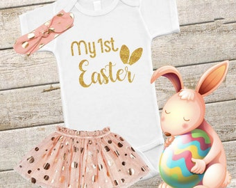 My 1st Easter Baby Onesie, 3-6 Month Onesie, Baby Girl, Glitter, Shower Gift, Girl Clothes, New Mom, Bodysuit