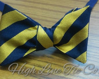Blue and Gold Stripped Self-tie Bow Tie made from a vintage Polo neck tie.