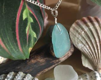 Genuine Scottish aqua seaglass pendant