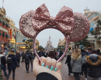 Handmade Rose Gold Sequin Mouse Ears