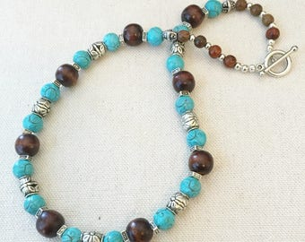 Turquoise Silver and Dark Brown Wooden Beaded Necklace Southwest Necklace