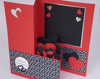 Handcrafted Black and red C5 Valentines card with hidden Black and Red Hearts