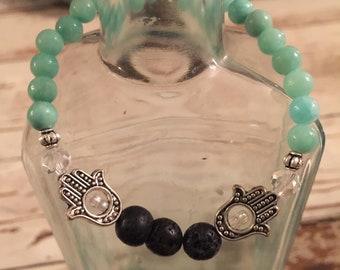 Essential Oil Diffuser Bracelet w/ Hamsa Hand