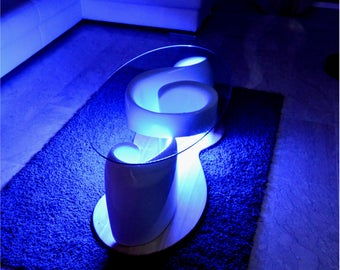 The HARMONY coffee table with led light-glass top- design unique
