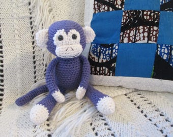 Purple Handmade Crocheted Stuffed Monkey Child's Toy
