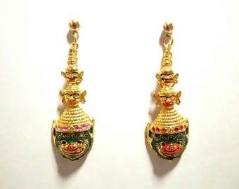 Hanumarn head earrings (Thai monkey in literature)
