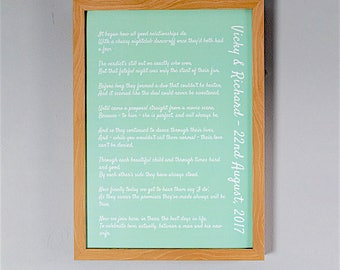 Bespoke, Personalised Wedding Poem/Reading - Printed and Framed A3 32 Lines