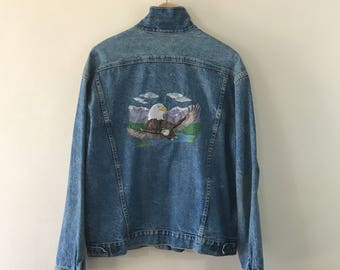 Vintage 1990s, Men's Guess Jean Jacket, Embroidered Eagle Denim Jacket, Extra Large