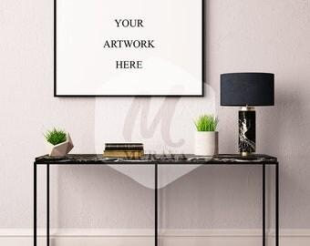 Livingroom frame mockup, Horizontal frame mockup, Styled Stock Photograpy, Classic Interior, PSD Mockup