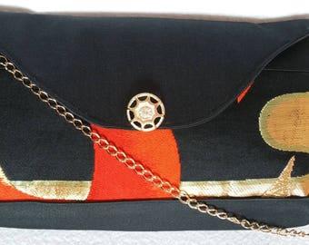Elegant Japanese Obi Brocade Clutch Evening Handbag