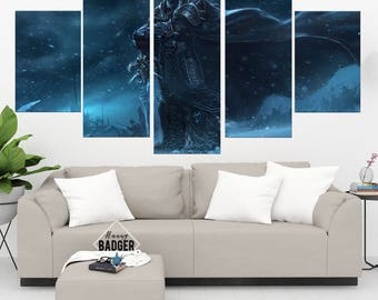 The Lich King World of Warcraft 5 Panel / Piece Canvas Set WoW Wall Art Print Poster Artwork Wall Decor Painting Decal Mural Decoration