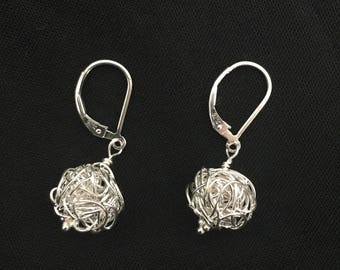 Sterling Silver Bird Nest Earrings