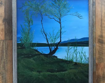 Original Painting,LanscapeNature,Realism,Wild,Norway,Fresh Morning,Blue Sky,Tree Oil Painting,