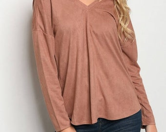 Suede fashion blouse Mocha or Blush