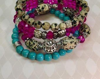 Dalmatian Jasper bracelet set