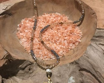 Hand crafted necklace, real stone & crystal beads