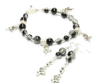 Set bracelet earrings Crackle Glass and metal beads