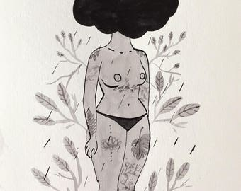Tattooed woman with a cloud head, Original illustration by Deborah Pinto