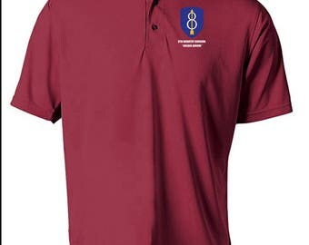 8th Infantry Division Embroidered Moisture Wick Polo Shirt -4104