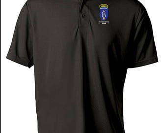8th Infantry Division (Airborne)  w/ Ranger Tab Embroidered Moisture Wick Polo Shirt -4092