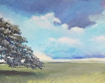 Tree, ORIGINAL acrylic painting, oak, landscape, Skies, Clouds, Open Fields,