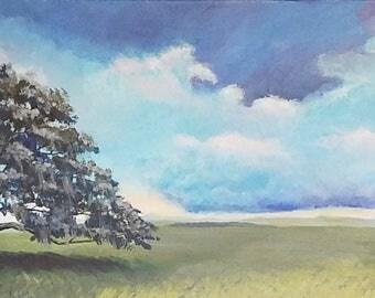 Tree, ORIGINAL acrylic painting, oak, landscape, Skies, Clouds, Open Fields,