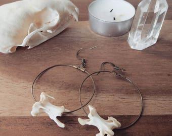 """Bird vertebrae earrings, """"Loosen"""" witch real bones wiccan taxidermy weird vertebraes silver bronze"""