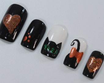 10 Cheeky Cat Fun Nails, Press On Nails, Glue on Nails, Full Coverage Nails