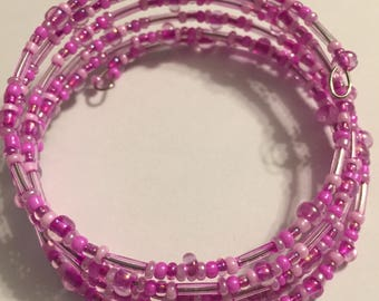 Tickled Pink Beaded Memory Wire Coil Bracelet