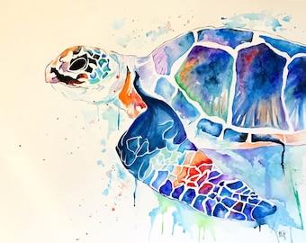 Rainbow Turtle Watercolor