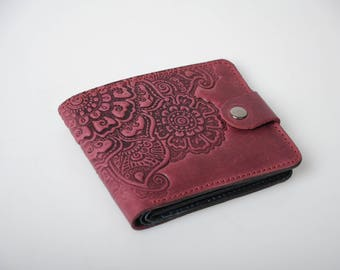 Marsala wallet, soft leather wallet, purple wallet ladies, leather billfold, small wallet women's, embossed billfold, pocket wallet