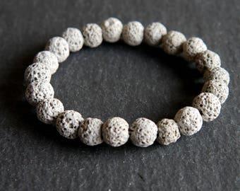 Spiritual Lava Rock Healing Diffuser Yoga Bracelet Light Weight Dyed Light Grey