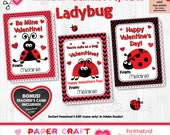 Ladybug Valentine Cards | Printable Classroom Valentines | Classroom Exchange Cards | By Paper Craft Valentines