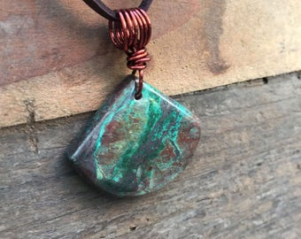 Chrysocolla Pendant / Chrysocolla Necklace / Natural Stone Polished Pendant / Green Necklace / Green and Copper Jewelry