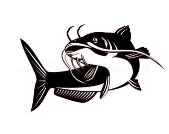 Cat Fish Cut Files SVG & Studio 3 File for Silhouette Brother Cricut Cutouts Decals Designs SVGs Cutout Stencil Stencils Fishing