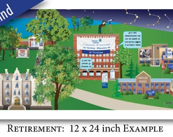 Custom Retirement, Retirement Gift, Retirement Women, Retirement Men, Celebration Illustration, Going Away Gift, Retirement Party