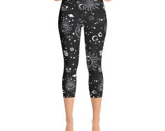 Constellation Capri Leggings, Womans Leggings, Printed Leggings, Festival Leggings, Yoga Pants, Womens Leggings, Yoga Leggings, Coachella