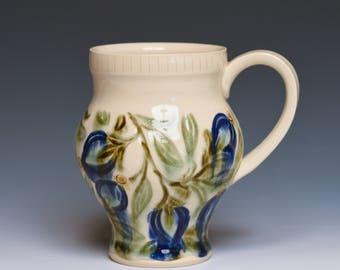 Blue Floral Handmade Pottery Mug