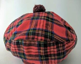Vintage Scottish Tartan Beret hat