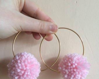 Baby pink pom-pom gold hoop earrings