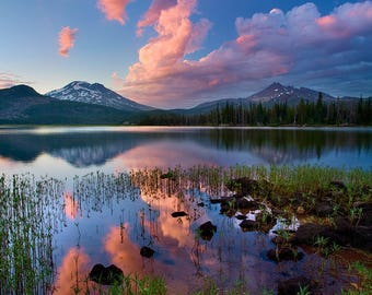 Cloudstreams - South Sister, Three Sisters Wilderness, Broken Top,  Sparks Lake, Central Oregon, High Desert, Metal Art