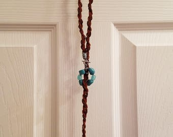 Braided Leather Lariat Necklace