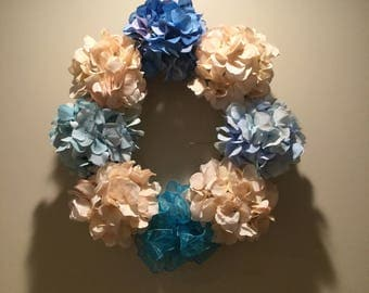 Blue and cream hydrangea wreath