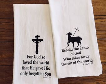 Easter Scripture Verse Flour Sack Tea Towels